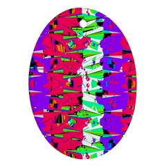 Colorful Glitch Pattern Design Oval Ornament (Two Sides)