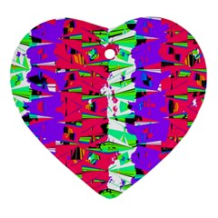 Colorful Glitch Pattern Design Heart Ornament (Two Sides)