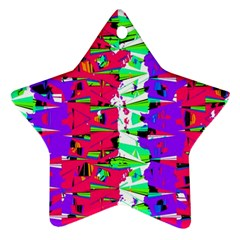 Colorful Glitch Pattern Design Star Ornament (Two Sides)
