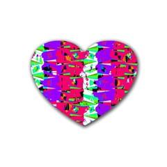 Colorful Glitch Pattern Design Rubber Coaster (Heart)