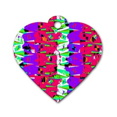 Colorful Glitch Pattern Design Dog Tag Heart (One Side)