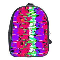 Colorful Glitch Pattern Design School Bags(Large)