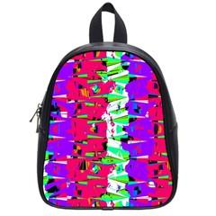 Colorful Glitch Pattern Design School Bags (Small)