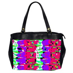 Colorful Glitch Pattern Design Office Handbags (2 Sides)
