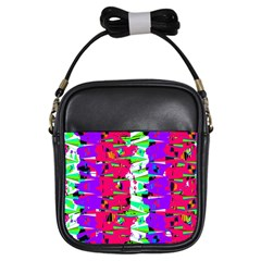 Colorful Glitch Pattern Design Girls Sling Bags