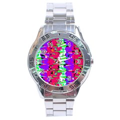 Colorful Glitch Pattern Design Stainless Steel Analogue Watch