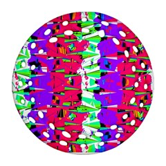 Colorful Glitch Pattern Design Round Filigree Ornament (Two Sides)