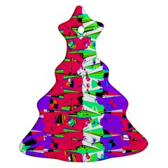 Colorful Glitch Pattern Design Christmas Tree Ornament (Two Sides)