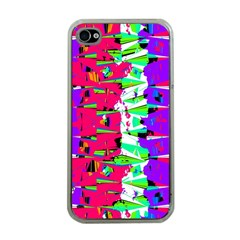 Colorful Glitch Pattern Design Apple iPhone 4 Case (Clear)