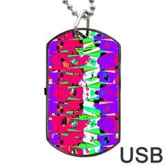 Colorful Glitch Pattern Design Dog Tag USB Flash (One Side)