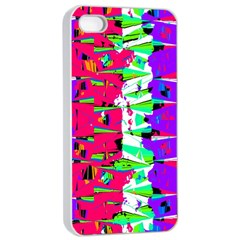 Colorful Glitch Pattern Design Apple iPhone 4/4s Seamless Case (White)