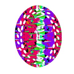 Colorful Glitch Pattern Design Ornament (oval Filigree)