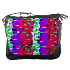 Colorful Glitch Pattern Design Messenger Bags