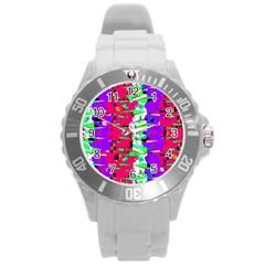 Colorful Glitch Pattern Design Round Plastic Sport Watch (L)