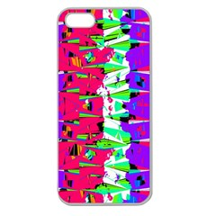 Colorful Glitch Pattern Design Apple Seamless iPhone 5 Case (Clear)