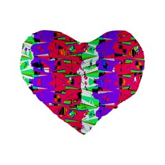 Colorful Glitch Pattern Design Standard 16  Premium Heart Shape Cushions