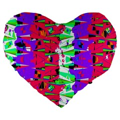 Colorful Glitch Pattern Design Large 19  Premium Heart Shape Cushions