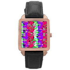 Colorful Glitch Pattern Design Rose Gold Leather Watch