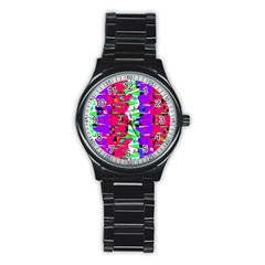 Colorful Glitch Pattern Design Stainless Steel Round Watch