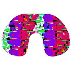 Colorful Glitch Pattern Design Travel Neck Pillows