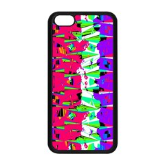 Colorful Glitch Pattern Design Apple iPhone 5C Seamless Case (Black)