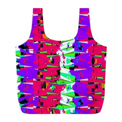 Colorful Glitch Pattern Design Full Print Recycle Bags (L)