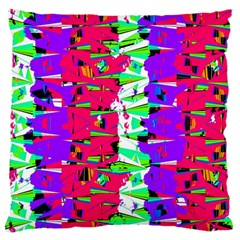 Colorful Glitch Pattern Design Large Flano Cushion Case (Two Sides)