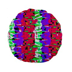 Colorful Glitch Pattern Design Standard 15  Premium Flano Round Cushions