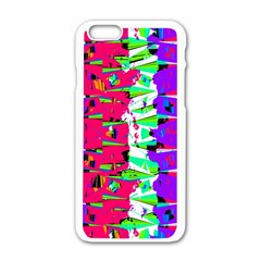 Colorful Glitch Pattern Design Apple iPhone 6/6S White Enamel Case