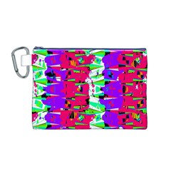 Colorful Glitch Pattern Design Canvas Cosmetic Bag (M)