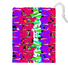 Colorful Glitch Pattern Design Drawstring Pouches (XXL)
