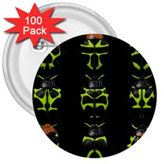 Beetles Insects Bugs 3  Buttons (100 pack)