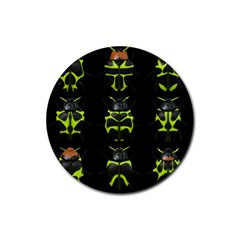 Beetles Insects Bugs Rubber Coaster (Round)