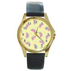 Watermelon Wallpapers  Creative Illustration And Patterns Round Gold Metal Watch
