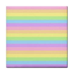 Cute Pastel Rainbow Stripes Tile Coasters