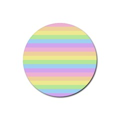 Cute Pastel Rainbow Stripes Rubber Round Coaster (4 pack)