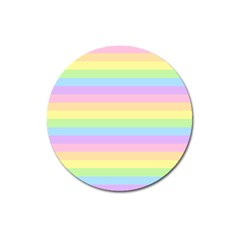 Cute Pastel Rainbow Stripes Magnet 3  (Round)