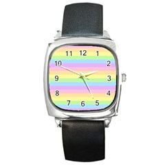 Cute Pastel Rainbow Stripes Square Metal Watch