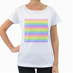 Cute Pastel Rainbow Stripes Women s Loose-Fit T-Shirt (White)