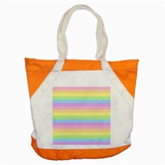 Cute Pastel Rainbow Stripes Accent Tote Bag