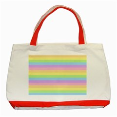 Cute Pastel Rainbow Stripes Classic Tote Bag (Red)