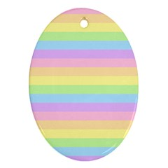 Cute Pastel Rainbow Stripes Oval Ornament (Two Sides)