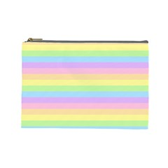 Cute Pastel Rainbow Stripes Cosmetic Bag (Large)