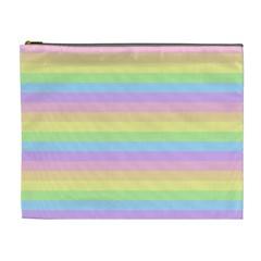 Cute Pastel Rainbow Stripes Cosmetic Bag (XL)