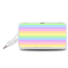Cute Pastel Rainbow Stripes Portable Speaker (White)