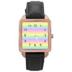 Cute Pastel Rainbow Stripes Rose Gold Leather Watch