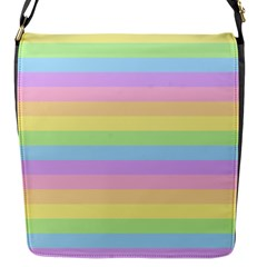Cute Pastel Rainbow Stripes Flap Messenger Bag (S)