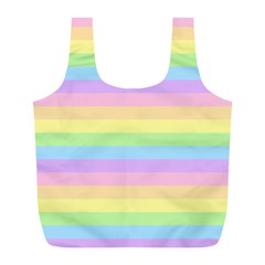 Cute Pastel Rainbow Stripes Full Print Recycle Bags (L)