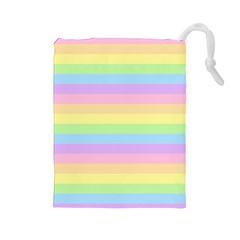 Cute Pastel Rainbow Stripes Drawstring Pouches (Large)