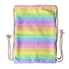 Cute Pastel Rainbow Stripes Drawstring Bag (Large)